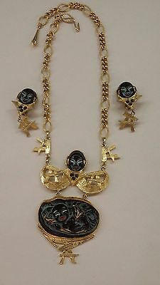 TRIFARI Necklace Ear Clips Laughing Buddha Black Molded Glass Lucite Goldtone