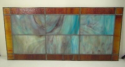 GEOMETRIC RECTANGULAR LEAD-STAINED GLASS WINDOW~Art/Crafts 32x16~HEAVY OBSCURITY