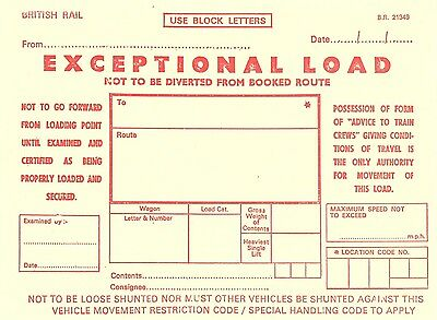 Br Exceptional Load Wagon Label