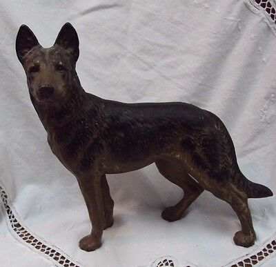 Vtg HUBLEY DOORSTOP ~ Cast Iron / STANDING GERMAN SHEPHARD DOG / Red Collar !