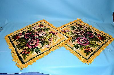 A Beautiful Set of Vintage Crushed Velvet Pillow Covers  * Floral Design *