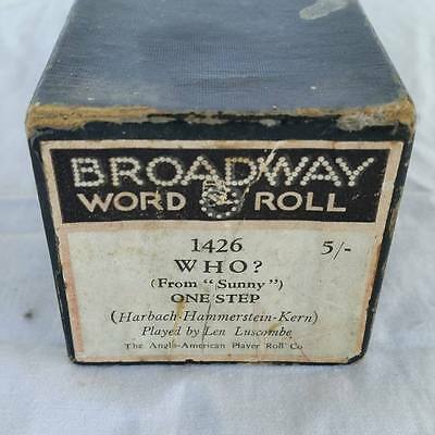 Pianola Piano Roll Who? From 'Sunny' One Step Broadway 1426 - 020