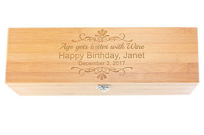 Birthday Gift for Wine Lover! Beautiful personalized Bamboo Wine Box with Tools