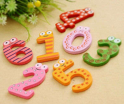 Wooden Fridge Magnet 10 Number Kids Educational Toy Baby Gift MultiColor