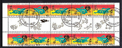 Christmas Isl 1999 Year Of The Rabbit Gutter Strip Of 10  Superb Cto