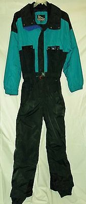INSIDE EDGE Onesie Snow SKI Suit Mens Large BIB Snowsuit Black Teal VGUC VTG
