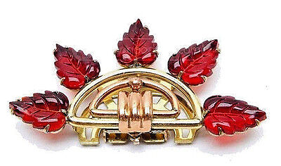 Stern-Kreisler Jewelry Co, Art Deco Red Glass Leaves Rose & Gold Tone Fur Clip