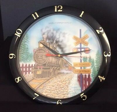 Vintage Railroad Train Clock with Hourly Sound Effect