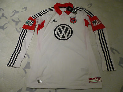 NWT Adidas 2012/2013 DC United Authentic TechFit White Long Sleeve Away Jersey 8