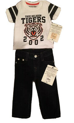 NWT TRUE RELIGION Baby Boy Black Jeans W/Flaps + Tiger Sports TEE 12M RTL  $118
