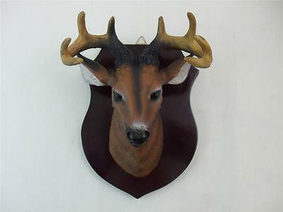 "Small Mounted Resin Deer Head Buck Brown Wood Plaque Wall Cabin Decor 7.5"" x5.5"""