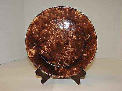 Antique Rockingham 10 Inch Pie Plate Yellow and Brown Spongware