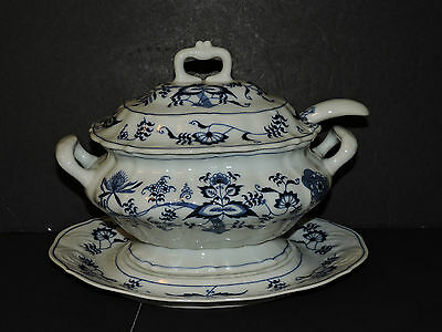 "Vintage Blue Danube ""Blue Onion"" Tureen with Underplate and Ladel"