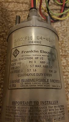 """Franklin Electric 4"""" Submersible Motor 460v 3 phase 1/2 HP"""