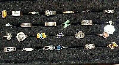 NOS Vintage lot of 25 sterling silver rings  LOT 2