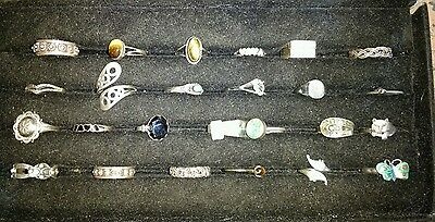 NOS Vintage lot of 25 sterling silver rings  LOT 1