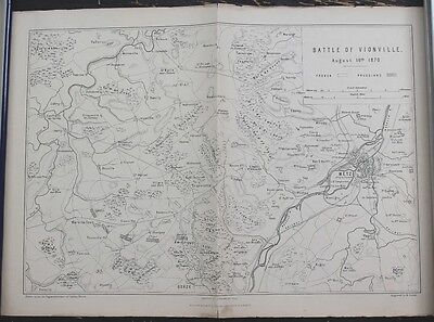 "Antique Map: Franco-Prussian War ""Battle of Vionville, 1870"", Printed 1875"