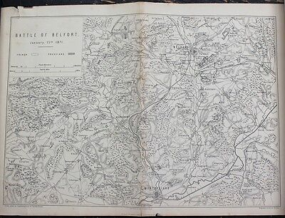 "Antique Map: Franco-Prussian War ""Battle of Belfort, 1871"", Printed 1875"