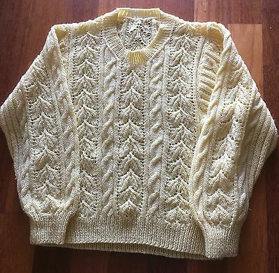 Hand Knitted vintage Yellow Jumper, Acrylic, Approx Size 14