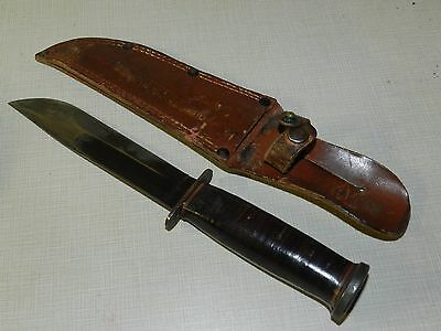Vtg Western Blued Blade Military Combat Fixed Blade Knife Leather Sheath