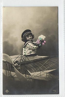Children with Airplane,Aviation,Used,Old Photo Postcard