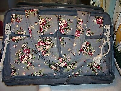 NEW Large Gray Floral Diaper Bag W/Changing Pad!