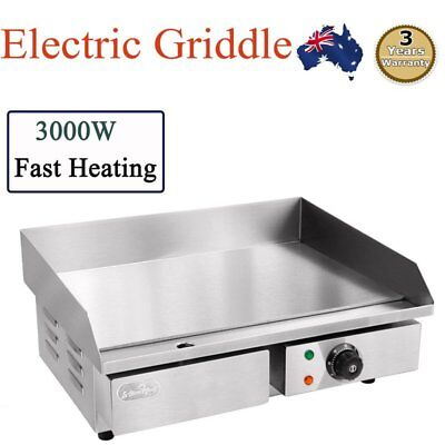 Barbecue Electric Griddle Grill Hot Plate Stainless Steel Commercial BBQ NEW