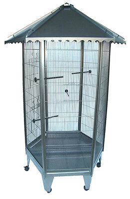 Brand New 6 Sided Large Steel Parrot Aviary Budgie Bird Cage Wheel