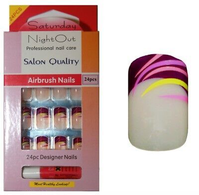 Kit de 24 faux ongles & colle - violet lilas & jaune  - set false nails & glue