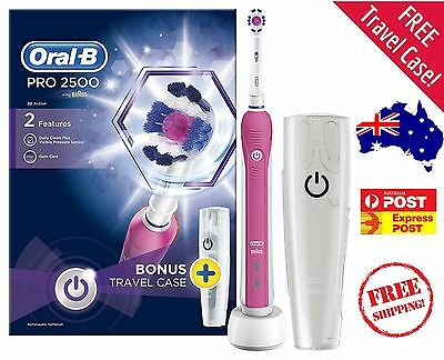 PINK Oral B Pro 2500 Electric Rechargeable Toothbrush - Free Travel Case!