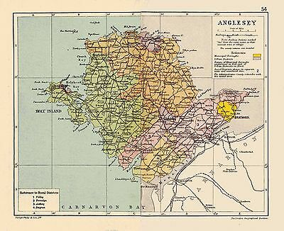 An antique map of Anglesey/ Sir Fon, Wales C1897.
