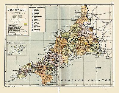 An antique map of Cornwall, England, C1897.