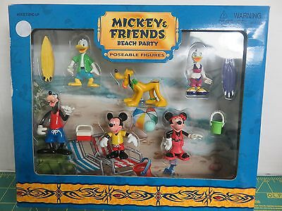 Vintage Disney Mickey and Friends Poseable Figures Set Beach Party NIB