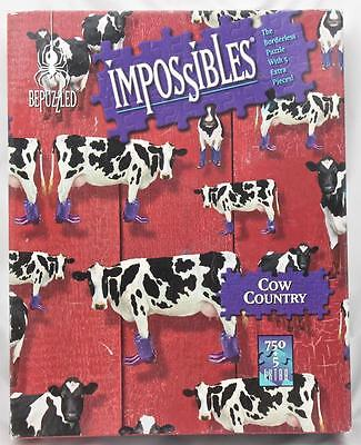 Impossibles Borderless Puzzle PLUS 5 Extra Pieces Cow Country AND Hidden Images