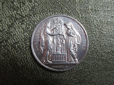 Small C19th French Silver Marriage Medal / Medallion -- 1869