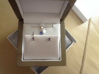 REDUCED! 9k Y Gold Tanzanite Set Stud Earrings and Pendant Lux Box