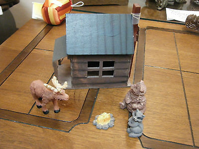 Adorable Wooden Cabin with 3 Animals and a Campfire, Lodge Decor