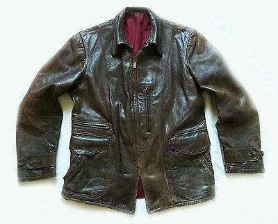 Superb 1940,s Halfbelt Horsehide Leather Motorcycle Jacket - Aero ? Medium Vgc