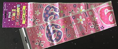 Age 6 Girls Birthday Banner - Butterfly / Flower- can be split into 3 - 6th