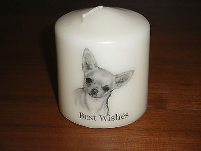 Candle Picture Smooth Chihuahua 2 Dog Can be Personalised Birthday Love Gift New