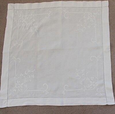 Vintage white linen square tablecloth with embroidery and drawn thread work.