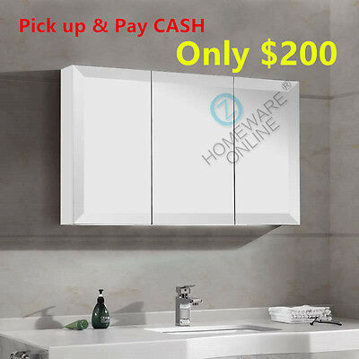 White 1200 x720x150mm Bevel Edge Shaving Cabinet Medicine Bathroom Mirror Vanity