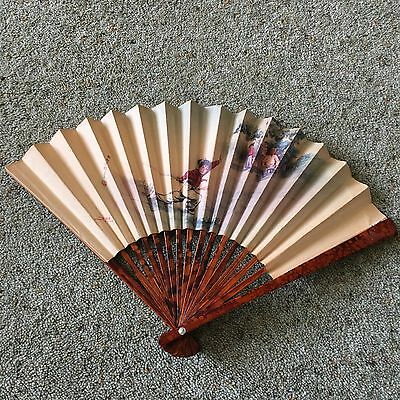 Vintage Retro Mid-Century Pokerwork Wood Paper Chinese Hand Fan Fencing Signed