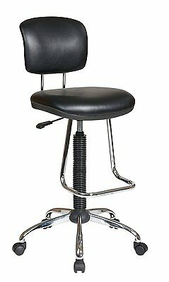 NEW Drafting Chair w/ Vinyl Stool Casters Adjustable Footrest 360 Degree Swivel