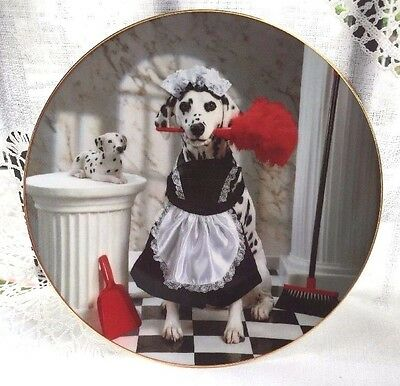 The Hamilton Collection MAID FOR A DAY Comical Dalmatian Plate 1996 USA # 1021A