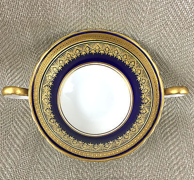 Aynsley Fine Bone China Simcoe Cobalt Blue Gold Twin Handled Soup Bowl