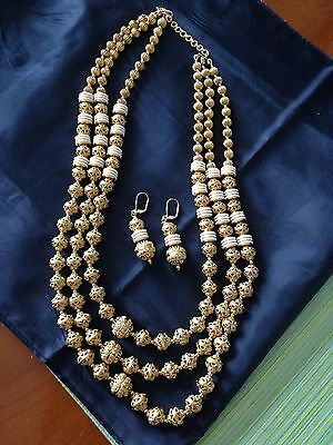 Indian Gold And Pearl 3-Strand Chunky Polki Necklace & Earrings Set