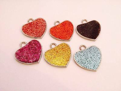 Dog Cat Pet Tag ID Collar Tags Personalised Engraved 25mm Glitter HEART identity