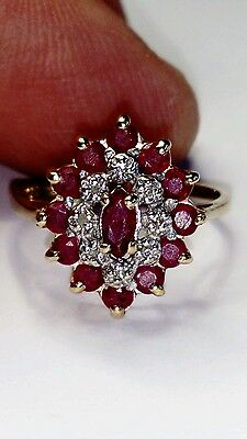Uk Hallmarked 9Ct Yellow & White Gold Natural Ruby & Diamond Cluster Ring, Sz Kl