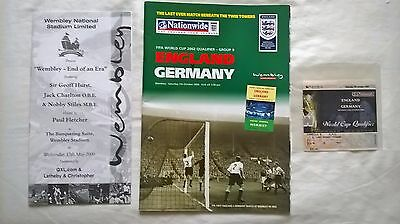 England V Germany 2002 Last Beneath The Twin Towers With Ticket.